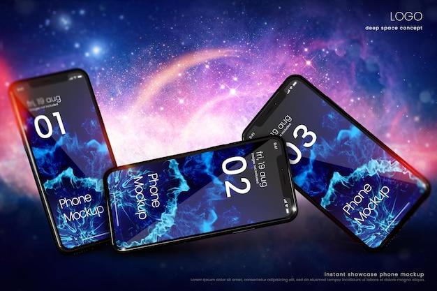 Maquete de telefone premium para exibição de aplicativo no fundo da nebulosa do espaço