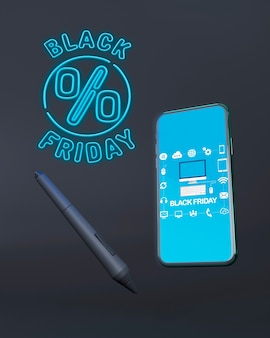 Maquete de telefone sexta-feira negra com luzes de neon azuis