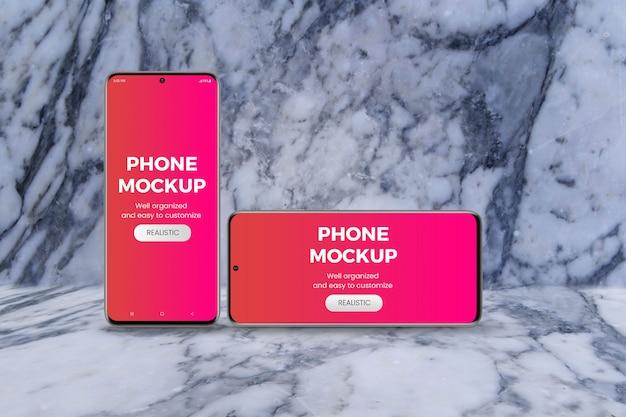 Maquete de telefone vertical e horizontal em pé