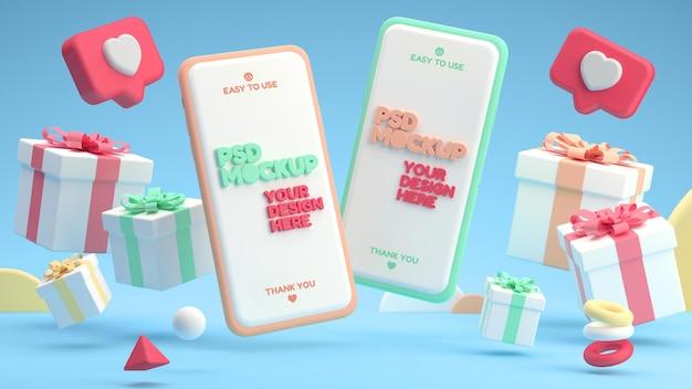 Maquete de telefones celulares com caixas de presente e curtidas em um estilo minimalista de desenho animado 3d