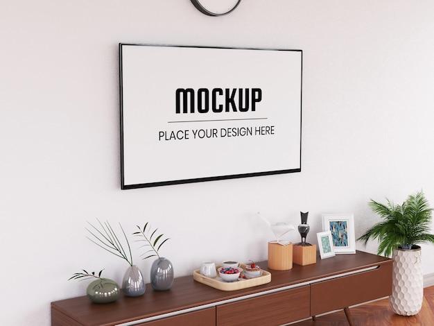 Maquete de televisão realista na sala de estar