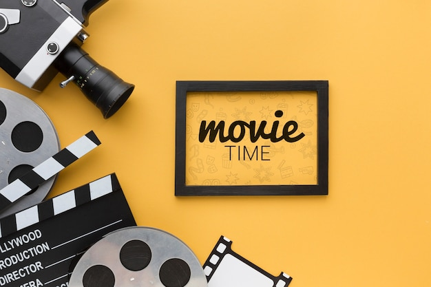 Maquete de tempo de filme no quadro e adereços