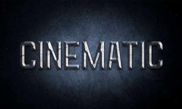 Maquete de texto de título cinematográfico com efeito metal