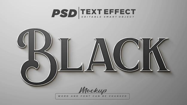 Maquete de texto editável de efeito de texto preto