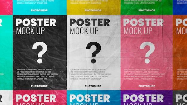 Maquete de textura de grunge de papel em azulejo cartaz realista