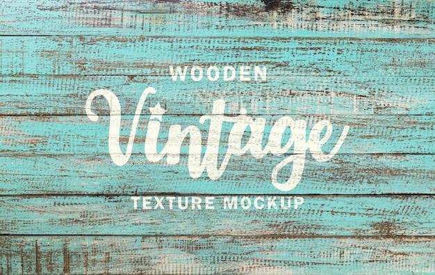 Maquete de textura de madeira vintage e efeito de texto pintado de madeira