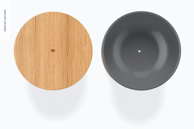 Maquete de tigela de mistura de cerâmica, vista superior