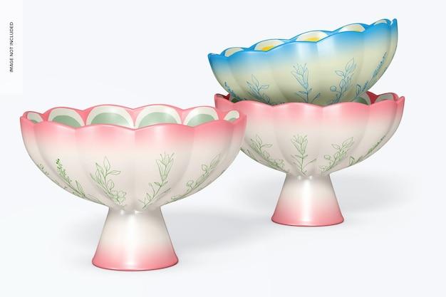 Maquete de tigelas com pés de cerâmica, empilhadas
