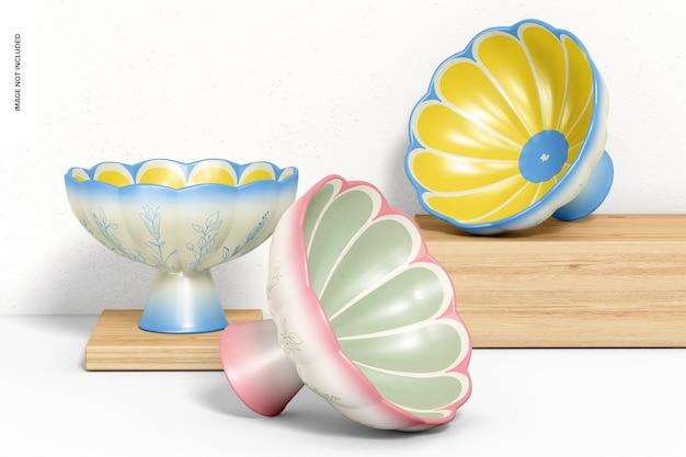 Maquete de tigelas com pés de cerâmica, vista frontal