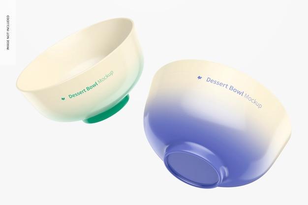 Maquete de tigelas de porcelana para sobremesa flutuante