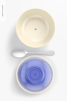 Maquete de tigelas de sobremesa de porcelana, vista superior