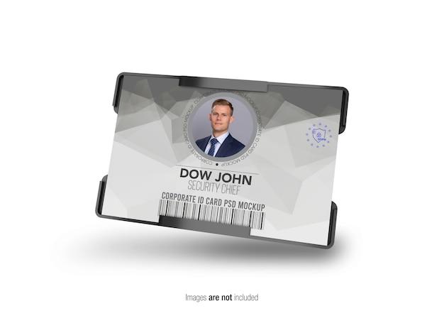 Maquete de titular de cartão de identificação corporativa horizontal