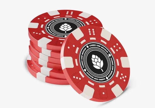 Maquete de tokens de casino de plástico