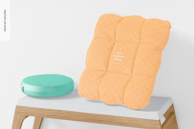 Maquete de travesseiro de quatro botões, inclinado