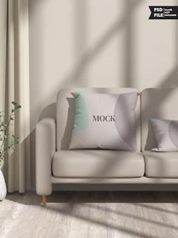 Maquete de travesseiro no sofá