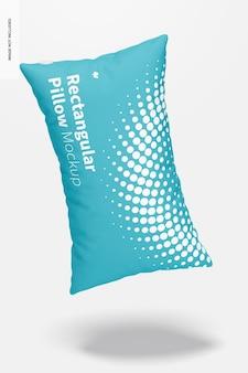 Maquete de travesseiro retangular, caindo