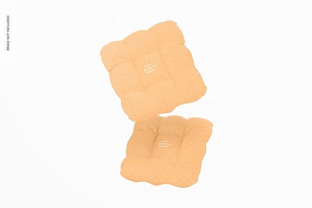 Maquete de travesseiros de quatro botões, flutuante