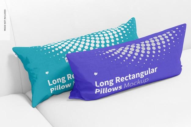 Maquete de travesseiros retangulares longos, inclinados