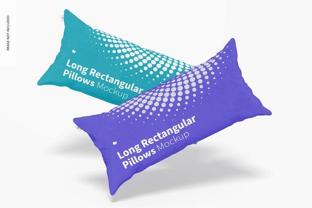 Maquete de travesseiros retangulares longos, queda
