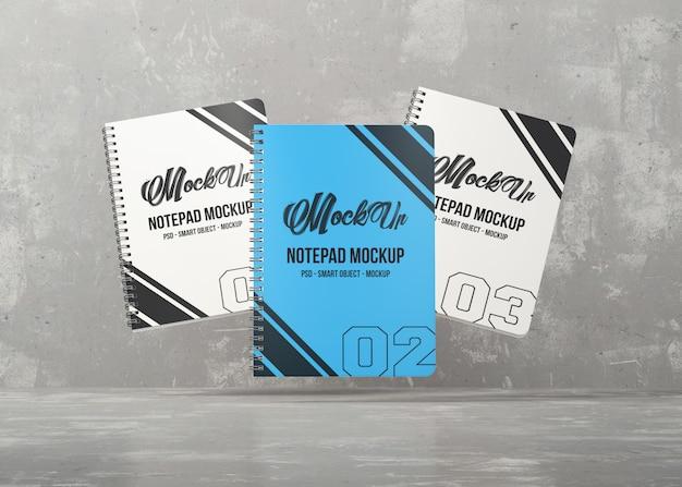 Maquete de três cadernos
