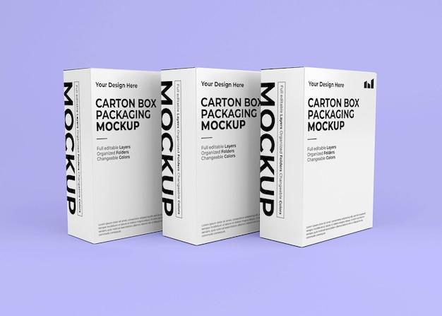 Maquete de três caixas de papelão para a marca do produto