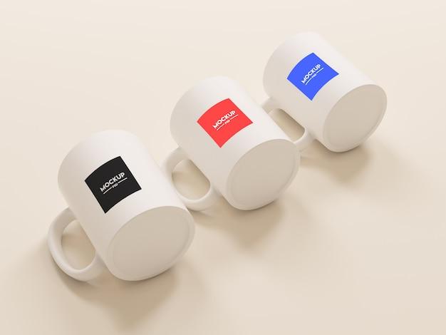 Maquete de três canecas de café