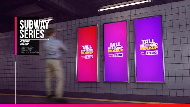 Maquete de três cartazes altos no corredor do metrô