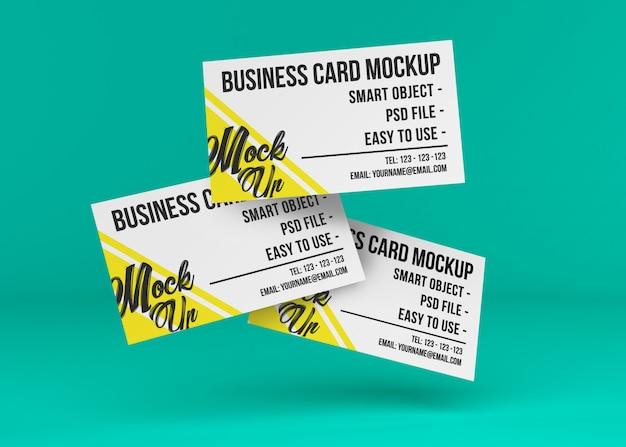 Maquete de três cartões de visita