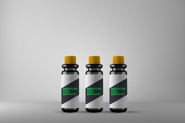 Maquete de três frascos de medicamentos homeopáticos