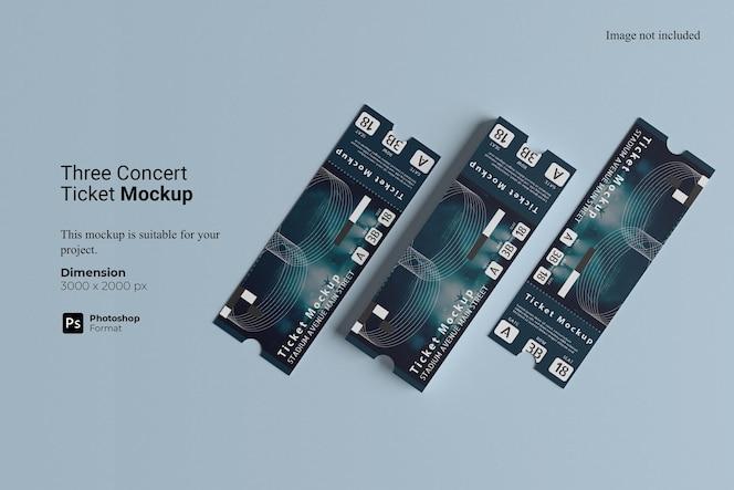 Maquete de três ingressos para concertos