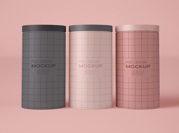 Maquete de três latas