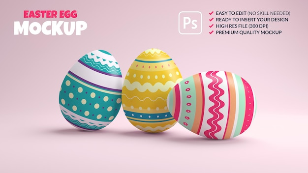 Maquete de três ovos de páscoa decorados em um fundo rosa em renderização 3d