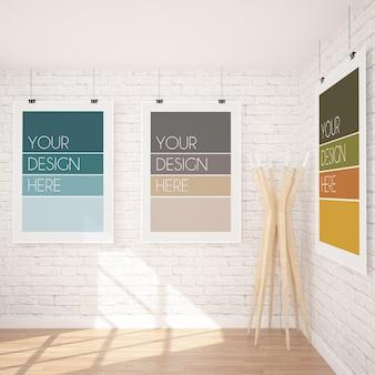 Maquete de três pôsteres pendurados verticais em um interior moderno com parede de tijolos brancos e lâmpada de madeira