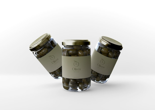 Maquete de três potes de azeitonas