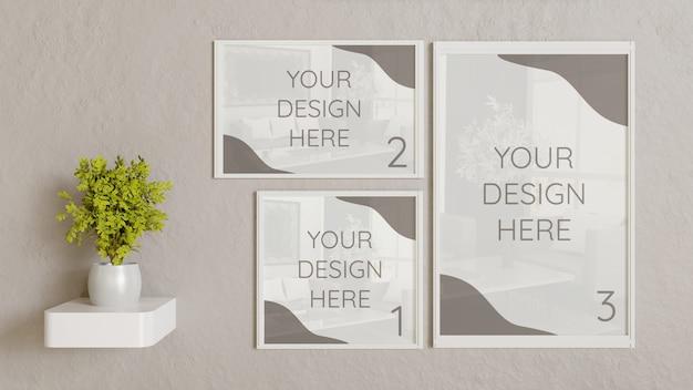 Maquete de três quadros brancos com tamanho diferente na parede