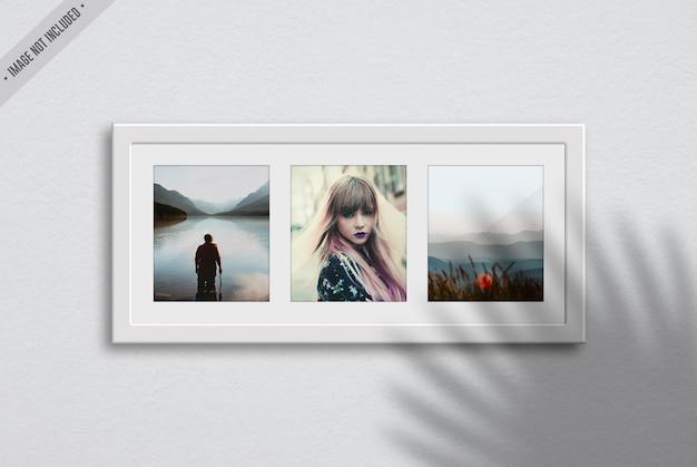 Maquete de três quadros no interior da sala de estar