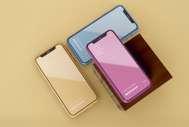 Maquete de três smartphones