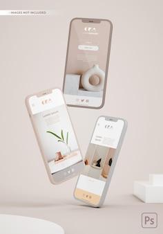 Maquete de três telefones flutuantes para apresentações de design de aplicativos.