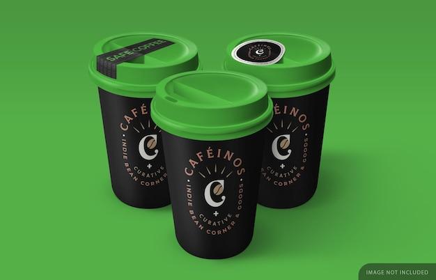 Maquete de três xícaras de café com adesivo de segurança