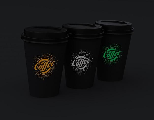 Maquete de três xícaras de café