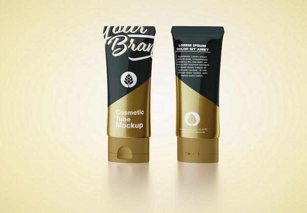Maquete de tubo cosmético brilhante e dourado