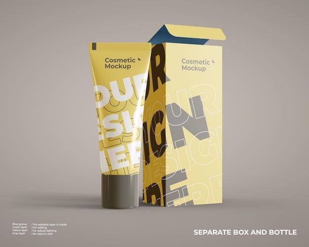 Maquete de tubo cosmético com embalagem de caixa