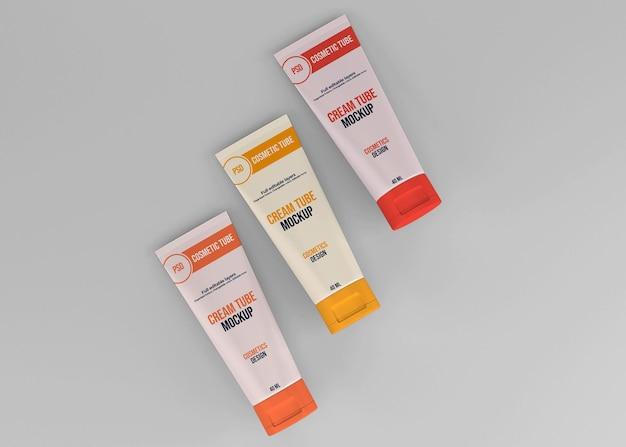 Maquete de tubo cosmético realista de vista superior
