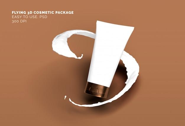 Maquete de tubo cosmético voador