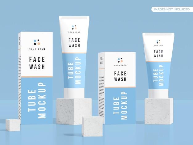 Maquete de tubo e caixa de cosméticos para creme facial