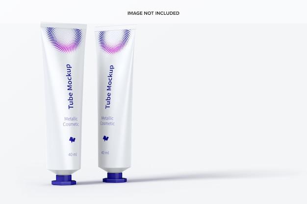 Maquete de tubos cosméticos metálicos de 40 ml
