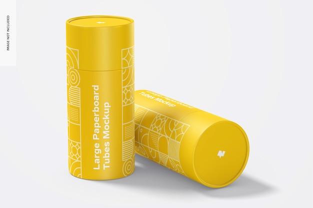 Maquete de tubos de papelão grandes, em pé e caídos