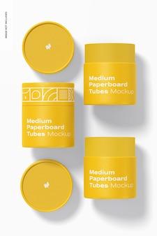 Maquete de tubos de papelão médio, vista superior