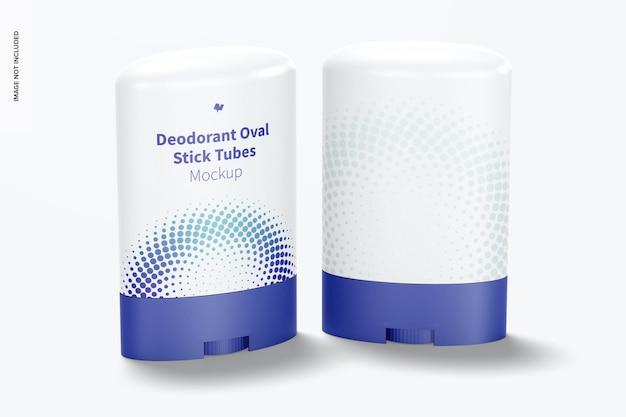 Maquete de tubos ovais de desodorante em bastão, perspectiva