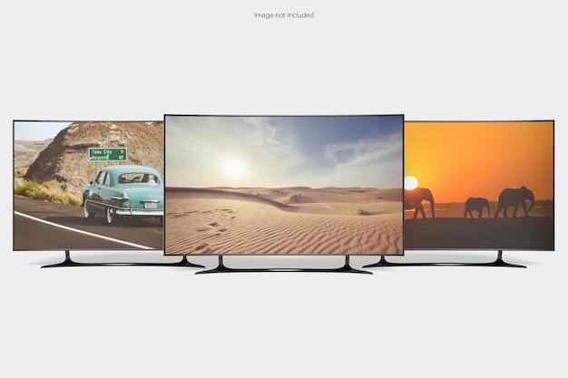 Maquete de tv com vista frontal
